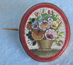 Italian Micromosaic Pin on Red Jasper
