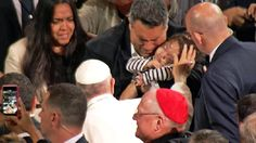 An emotional moment for some families as Pope Francis stops to bless some ill and special-needs children on his way into Madison Square Garden.