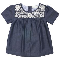 Look what I found on Chambray Floral Embroidered Top - Infant, Toddler & Girls by JoJo Maman Bébé Fashion Kids, Little Girl Fashion, Frocks For Girls, Girls Dresses, Unique Baby Clothes, Cute Outfits For Kids, My Baby Girl, Kind Mode, Infant Toddler