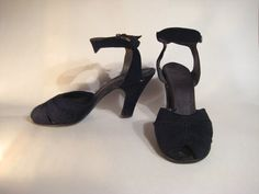 1940s Corde Shoes  Peeptoe Ankle Strap Pump  Rare by HazelRoberts, $26.00