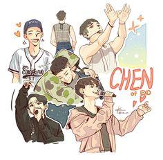 *Art not mine Exo Chen, Baekhyun Chanyeol, Exo Kokobop, Chanbaek, K Pop, 5 Years With Exo, Exo Fan Art, Kim Minseok, Exo Members