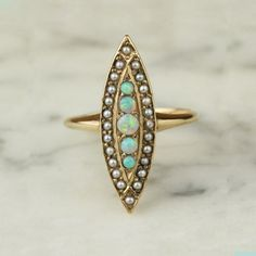 Victorian 14k Yellow Gold Opal and Seed Pearls
