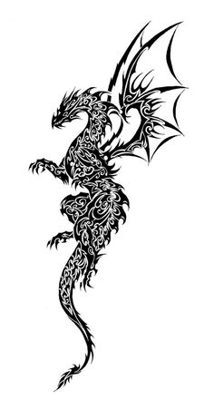 Tribal Dragon by on deviantART. - Tribal Dragon by on deviantART. Dragon Tattoo Chest, Dragon Tattoo Shoulder, Simple Shoulder Tattoo, Tribal Dragon Tattoos, Tribal Shoulder Tattoos, Dragon Tattoo Designs, Tattoo Diy, Et Tattoo, Tattoo Drawings