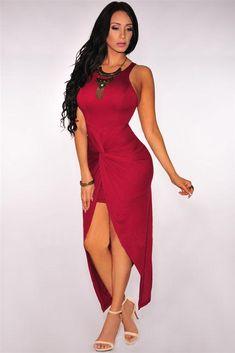 Dear Lover Women Knee-Length Summer Cranberry Sleeveless Knotted Slit Dress  Vestidos eb0b2e4468f5