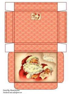 Christmas Cheer Gift Box on Craftsuprint designed by Rhonda Brittain - A gift box with Santa spreading his christmas cheer - Now available for download!