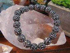 "New 8"" Black Diamond Hematite Crystal Ball Shamballa Rustic Bracelet"