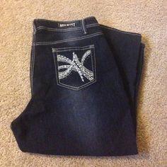 Red Rivet dark wash denim jeans. Dark wash. Super blingy pockets and rivets. Worn one time.  Size 20W Red Rivet Jeans Straight Leg