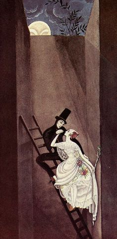 enchantingimagery:  We'll mount so high that they can't catch us, and quite at the top there's a hole that leads out into the wide world. A Kay Nielsen illustration for the Hans Christian Andersen fairy-tale, The Shepherdess and the Chimney Sweep My scan.