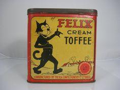 SUPERB RARE FELIX THE CAT TOFFEE TIN |