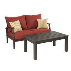 $568 allen + roth 2-Piece Gatewood Brown Aluminum Patio Conversation Set with Solid Red Cushions