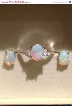 Breathtaking Australian Opal Jewelry Set Opal Ring Opal Stud by OpalEmbers, $215.10