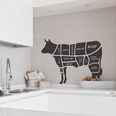 This stylish twist on the original butchers cow diagram is a great asset to any kitchen.  $44.01 Kitchen Stickers, Wall Decor Stickers, Wall Stickers Animals, Removable Wall Stickers, Contemporary Wall Stickers, Wall Art Wallpaper, Wall Decor Design, Logo Restaurant, Restaurant Ideas