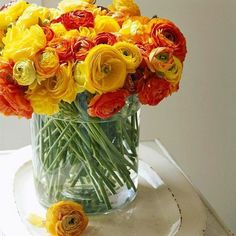 An orange and yellow ranunculus arrangement in a large glass vase for a summer wedding. Wedding Color Combinations, Wedding Color Schemes, Wedding Colors, Color Combos, Wedding Ideas, Wedding Photos, Wedding Planning, Ranunculus Wedding Bouquet, Wedding Bouquets