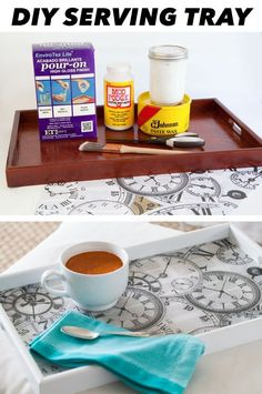 DIY Serving Tray Makeover but with gallafrain instead of clocks, tho both work for a doctor who theme Home Crafts, Fun Crafts, Diy And Crafts, Diy Projects To Try, Craft Projects, Craft Ideas, Diy Ideas, Diy Gifts, Serving Trays