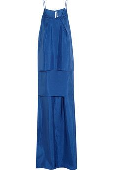 Acne Satya tiered silk-sateen maxi dress | THE OUTNET