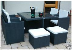 Garden Dining Set Coffee Table Chairs Stool Space Saver Patio Furniture Cushions for sale Rattan Garden Furniture Sets, Cube Furniture, Patio Furniture Cushions, Furniture Deals, Deco Furniture, Furniture Layout, Dining Furniture, Outdoor Furniture, Garden Dining Set
