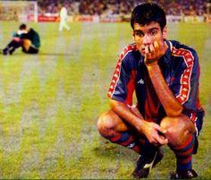Final Champions, Estadio de Atenas, 18-5-1994, AC Milan, 4- FC Barcelona, 0. Andoni Zubizarreta y Pep Guardiola.