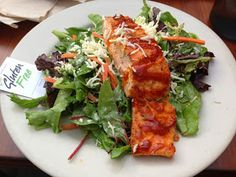 The salmon salad at Ruggles Green is one of the things that makes this gluten free college celiac grin!