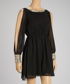 Take a look at this Black & Gold Dot Cutout Dress on zulily today!
