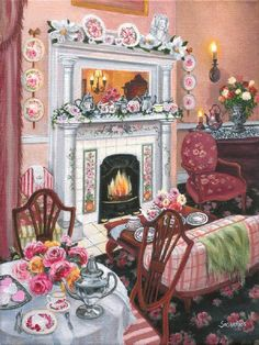 """""""Camellia Rose Tea Room"""" 8 x 10 A charming tea room is completely prepared and ready for its guests. Susan Rios has been a professional artist for over 30 years. You will find her romantic illustratio"""