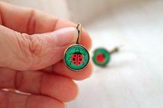 Ladybug leverback earrings sweet lolita feminine  by DinaFragola