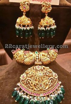 Peacock Pendant with Jhumkas Emerald Drops - Jewellery Designs Gold And Silver Bracelets, Cheap Silver Rings, Silver Jewelry, Silver Earrings, Emerald Necklace, India Jewelry, Temple Jewellery, Sterling Necklaces, Choker Necklaces