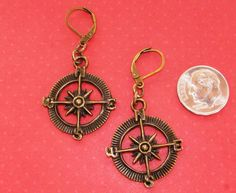 COMPASS Bronze Tone LEVER BACK earrings OPTIONS: short or long #BusyBeeBumbleBeads #DropDangle