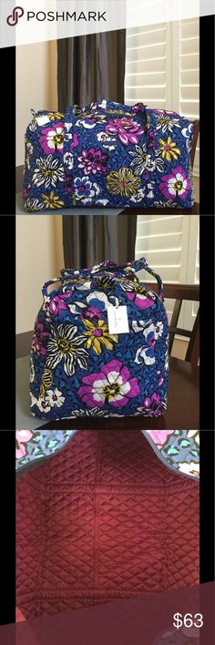 """NWT VERA BRADLEY LARGE DUFFEL Brand new with tags Vera Bradley large duffel African violet pattern  15"""" strap drop Handy outside end pocket Folds flat for easy storing Dimensions 22"""" W x 11½"""" H x 11½"""" D - 15"""" strap drop Duffle Smoke/pet free home Vera Bradley Bags Travel Bags"""