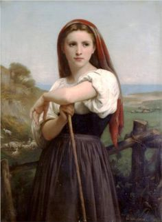 'Young Shepherdess' by William-Adolphe Bouguereau William Adolphe Bouguereau, Oil Painting On Canvas, Painting & Drawing, Oil Paintings, Jean Leon, Beaux Arts Paris, Munier, Les Fables, Oil Painting Reproductions