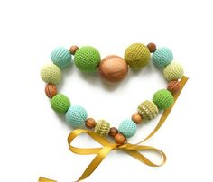 Nursing Necklace Teething necklace for mom  Green by EjaEjovna, $28.00