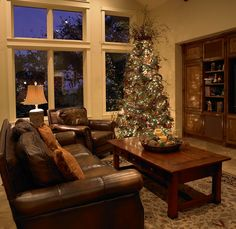 Family room decorated for the holidays.