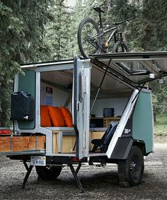 the tigermoth camper trailer is made for off-the-grid living - Wohnwagen - Home Made Camper Trailer, Teardrop Camper Trailer, Off Road Camper Trailer, Truck Camper, Auto Camping, Camping Hacks, Camping Store, Camping Supplies, Camping Checklist