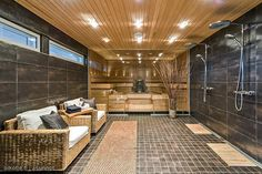 Gorgeous sauna with spa:) Home Spa Room, Spa Rooms, Dream Bathrooms, Dream Rooms, Chalet Design, House Design, Relaxation Room, Relaxing Room, Sauna House