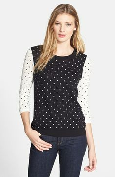 kensie Colorblock Dot Sweater available at #Nordstrom