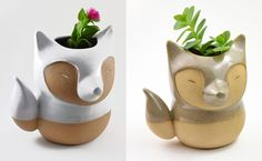 Ceramicist Priscilla Ramos from São Paulo, Brazil, has a fantastic line of animal planters in the form of foxes, whales, anteaters, and yes, even the world's largest rodent. The handmade stoneware pieces are perfect for small succulents or cacti, and you can see more in her shop: Cumbuca Chic.