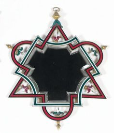 Emilio TERRY (1890 - 1969) Miroir en bronze émaillé à motifs géométriques et