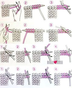 Entrelac diagrams from Japan, home of the most excellent knitting illustrations in the world. Knitting Basics, Knitting Stiches, How To Start Knitting, Knitting For Beginners, Loom Knitting, Knitting Needles, Knitting Projects, Crochet Stitches, Baby Knitting