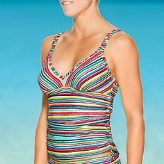 Montego Shirred Bra Cup Tankini - Find the fit that suits you best when you mix or match with this suit that comes in three different but complementary prints.