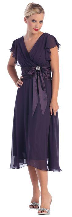 Simple Tea Length Plum Chiffon Dress Empire V-Neckline Short Sleeves Prom Dress - Elegant Prom Dresses
