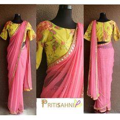 18 Ideas Wedding Summer Yellow Pink For 2019 Fancy Sarees, Party Wear Sarees, Chiffon Saree Party Wear, Plain Chiffon Saree, Plain Saree, Latest Saree Blouse, Sari Blouse Designs, Sari Design, Saree Trends