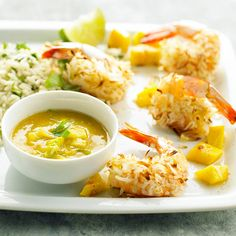 Coconut Shrimp with Mango Sauce is a delicious tailgating dish! More tailgating favorites: http://www.bhg.com/recipes/party/appetizers/easy-party-foods/?socsrc=bhgpin102512coconutshrimp=7