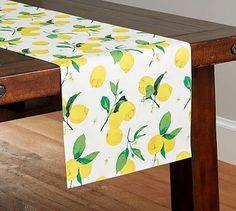 Painted Lemon Table Runner #potterybarn
