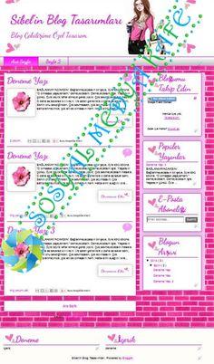 şablon blogger tema tasarımları pembe kalpli kız blog tema tasarımı