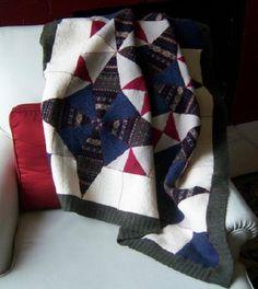 Recycled Wool Lap Baby Blanket/ Kaleidoscope pattern by Katzfire