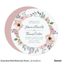 Dusty Rose Pink Watercolor Floral   Circle Wedding Invitation Staubige Rose, Rosa Rose, Dusty Rose, Rose Gold, Watercolor Circles, Watercolor Wedding, Watercolor Flowers, Floral Invitation, Floral Wedding Invitations