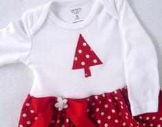 Christmas Onesie Dress  Red Polka Dot