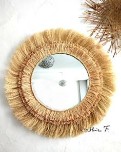 Ethnic charm to decorate your home with this great Sun raffia. the large mirror ethnic raffia fiber. Mirror on compressed cardboard frame painted with decorative raffia and fibers, and highlighted by a thick rope. Boho Nursery, Nursery Mirror, Jungle Theme Nursery, Safari Room, Nursery Themes, Nursery Art, Nursery Decor, Jungle Safari, Nursery Ideas