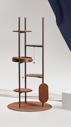 Three Poles Cat Tower / Milliong, 2019 / Designed by Jiyoun Kim Studio™ - Jiyoun Kim, Hannah Lee / www.jiyounkim.com Pet Furniture, Furniture Design, Huge Dogs, Shelving Design, Cat Towers, Cat Playground, Cat Room, Cat Accessories, Space Cat