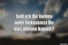Soll ich Dir helfen oder bekommst Du das alleine kaputt? ... gefunden auf https://www.istdaslustig.de/spruch/1556 #lustig #sprüche #fun #spass