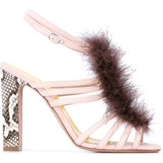 Francesca Mambrini feather snake-effect sandals ($730) ❤ liked on Polyvore featuring shoes, sandals, pink, leather shoes, feather sandals, snake sandals, snake shoes and genuine leather shoes